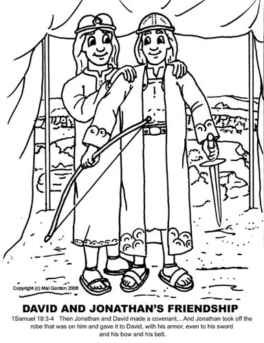 Good News Children S Church David And Jonathan Are Friends David And Jonathan Coloring Page