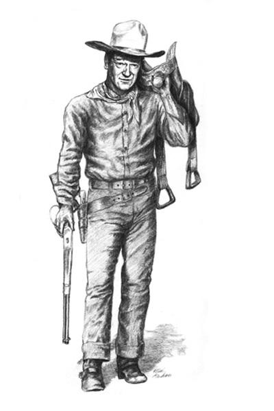 Realistic cowboy coloring page